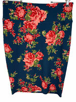 Lularoe Cassie Pencil Skirt Size L Navy Floral Stretch NWT Gorgeous!