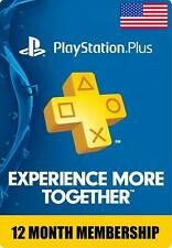 Sony PlayStation Plus 1 Year 12 Month Membership Subscription Usa Quick Delivery