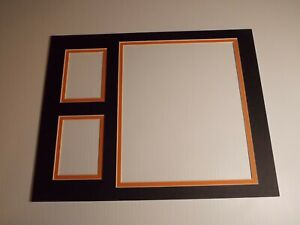 Picture Frame Double Mat 11x14 for 8x10 photo /Trading Cards Black Orange liner