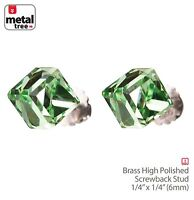 Men's Women's 925 Sterling Silver Crystal 3D Cube Stub Screw Back Earrings GREEN