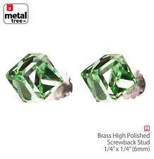 Men's Women's 925 Sterling Silver Crystal 3D Cube Stub Screw Back Earrings GREEN
