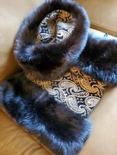 Perfect Black Mink and Gold Brocade Leather Hat and Muff