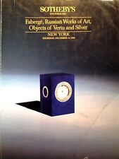 Sotheby's Catalog FABERGE RUSSIAN WORKS OF ART, VERTU & SILVER 12/1988 NY