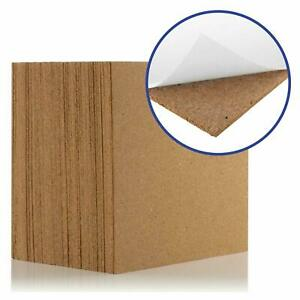PACK OF 4 NEW NATURAL CORK WALL TILES PINBOARD SELF ADHESIVE 5MM THICK FOR WALLs