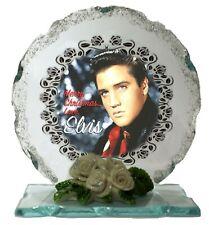 More details for elvis presley merry christmas edition crystal cut glass plaque keepsake
