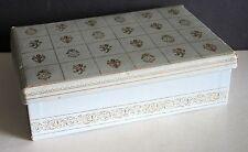 Jewelry Trinket Box fluer-de-lis Design Paper Cardboard Fabric Lined Lid FREE SH