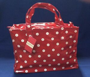 Red Dotty Tote handbag, handy size for everyday, lunch bag, day bag, craft bag.