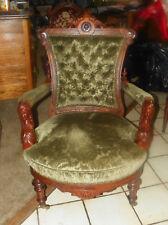 Walnut Carved John Jelliff Armchair Parlor Chair green velvet fabric  (AC82)