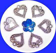 6 Metallanhänger Herz 17 mm nickelfrei Tibetsilber Öse 2 mm für Kettenanhänger