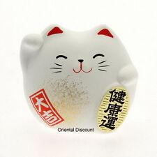 "Japanese 2""H White Ceramic Maneki Neko Health Lucky Happy Cat, Made in Japan"