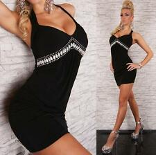 Womens Sexy Crossed Back Embellished Evening Party Mini Dress size 8 10 12