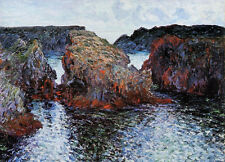 Oil painting Claude Monet - Ile, Rocks at Port-Goulphar impressionism sea canvas