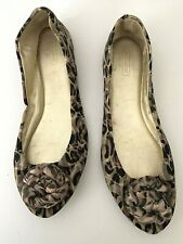 COACH Brown Leopard Printed Fabric Round Toe  Bow Ballet Flat Shoes size 10B