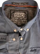 SUPERDRY Shirt Mens 17 L Blue LONDON BUTTON DOWN
