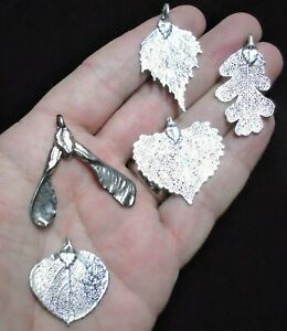 Mixed Antique Silver Leaf Collection - Real Leaf Jewellery Clearance 1013