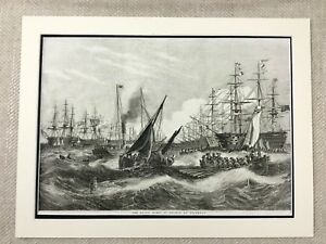 1855 Royal Navy Baltic Fleet Military Naval War Ships Old Antique Military Print
