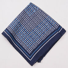 New $135 ERMENEGILDO ZEGNA Blue Houndstooth Check Wool and Silk Pocket Square