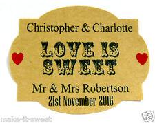 20 Personalised Vintage Brown Kraft Wedding Favour Sweet Jar Label Sticker