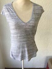 Reebok Womens Small Short Sleeve V Neck Heathered Grey Scrunch Back