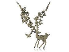 Nature Aware Bursting Life Tree Antler Bambi Leaf Deer Forest Pendant Necklace