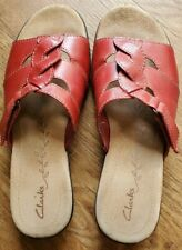 Clarks Womens Size 8 M Sandals Slides Red Leather Shoes w/ Hook & Loop Strap
