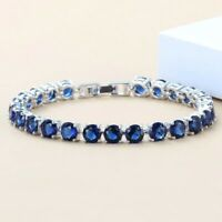 Blue Sapphire 925 Sterling Silver Gemstone Round Chain Tennis Bracelet Woman Men
