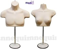 1 Set Male & Female Torso Mannequins Flesh Dress Form with 2 Stands & 2 Hangers