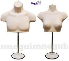 1 Set Male Amp Female Torso Mannequins Flesh Dress Form With 2 Stands Amp 2 Hangers