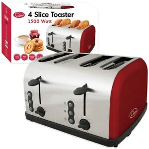 New Quest 4-Slice Toaster, 1500 Watt, Red Removable Crumb Trays Wide Slots !