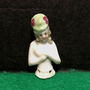 Antique Miniature Half Doll w Hat flowers Porcelain 1 3/4 inches marked