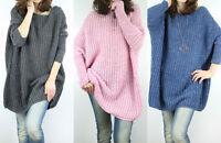 Neu Pulli Pullover Modischer Oversize  Strick Tunika Longshirt Kleid  M L XL XXL