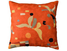 "Kandinsky Biomorph Cushion Cover Hand Embroidered 18"" x 18"""