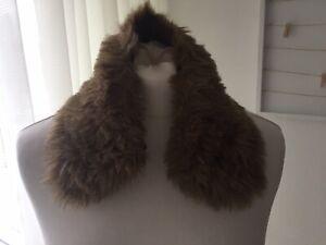 Vintage ! warmer Pelzkragen zum knöpfen braun kuschelig 46cm Kunstpelz