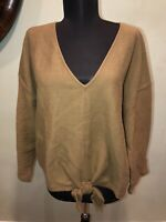 Madewell Texture & Thread Tie-Front Knot Top Size 2X V-Neck Army Green New