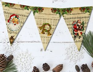 Traditional Vintage Sheet Music Christmas Carol Bunting & Ribbon - 3m / 12 Flags