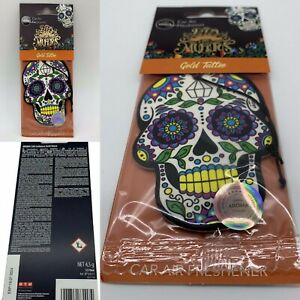 Gold Tattoo Day of The Dead Skull Aroma Car Air Freshener New & Sealed