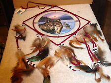 DREAMCATCHER WITH A PICTURE OF WOLVES WOLF DIAMOND SHAPE