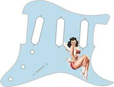 Stratocaster Pickguard Custom Fender SSS 11 Hole Guitar Pin Up Girl 4 Blue