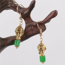 Natural Green jadeite Earring Buddha 18KGP Dangle Holiday gifts Dangle Earbob