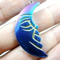 Titanium Hematite hand-Carved moon  Gemstone pendant beads necklace A13