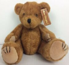 """Anna Club Small Jointed Plush Brown Teddy Bear The Leather Tag Line 11"""" Long"""