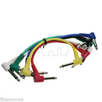 Set 6 Pack Plug Angled Leads Cables Patch For Guitar Effect Pedal Color Coded AU