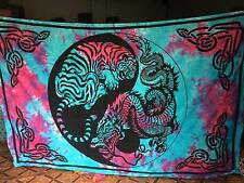 Tie Die Tiger Dragon Thai Wall Hanging Mandala Pure Cotton Home Decor Tapestry