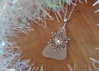 Sea glass and snowflake necklace. Sea glass jewellery. Christmas gift.