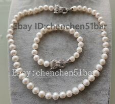 kultiviert 9-10mm weiß Süßwasserperle Tiger Kopf Halskette Armband 20/8 zoll