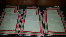 Shabby Chic linen crocheted 6 Napkins 13 long by 10 Hand Crochet Vintage wedding