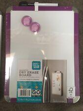 """Pen+Gear Magnetic Dry Erase Board W 2 Magnets & Marker, 8.5"""" x 11"""" NEW Purple"""