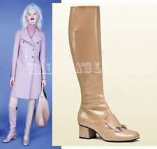 $1,495 GUCCI BOOTS LILLIAN CAMEL BEIGE LEATHER LOAFER DESIGN HORSEBIT 36 6