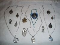 Vintage Lot 14 Catholic Religious Medals, Mini Rosary, Enamel Medals Some ITALY