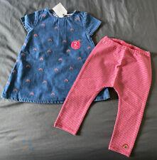 Toddler Girl 18-24 Month Next UK Rainbow Stitch Denim Dress & Striped Leggings